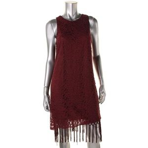 NEW Lush Burgundy Lace Fringe Sleeveless Dress